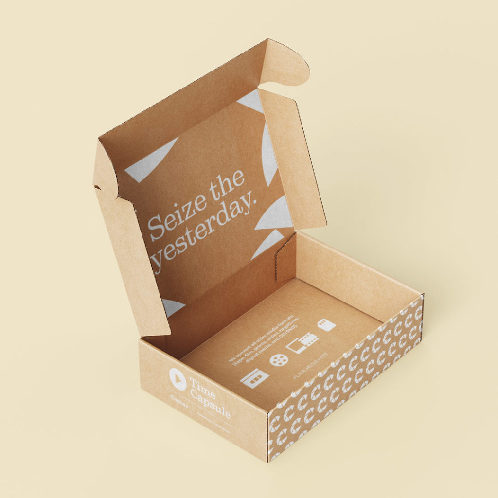 Capture Time Capsule packaging designed by Kilter.